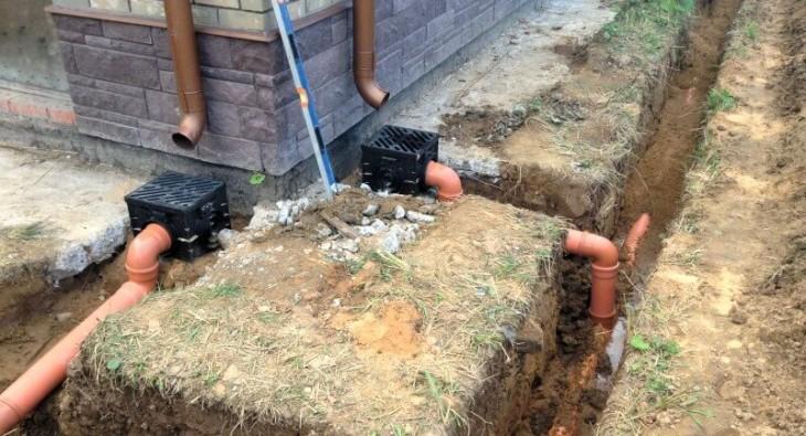 Устройство ливневой канализации дома